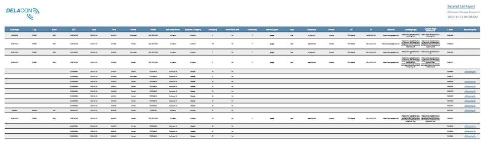 Detailed call report